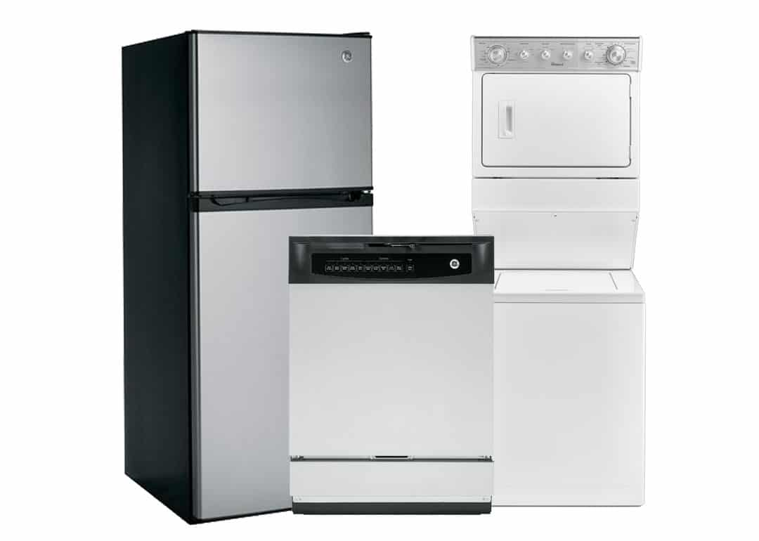 Stainless steel fridge, stainless steel dishwasher, and white washer/dryer unit
