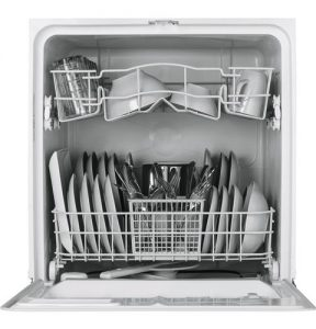 GE dishwasher filled with plates and bowls