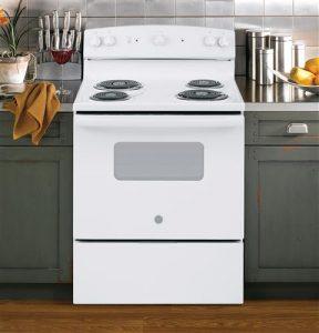 Open White GE range jbs160 in the kitchen