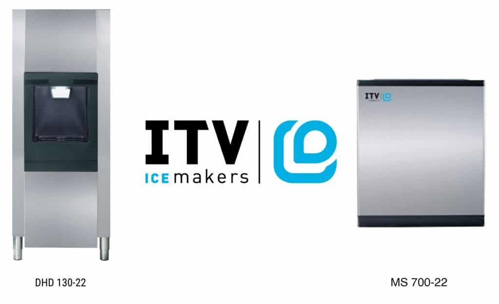 Ice maker and dispenser from ITV with company logo
